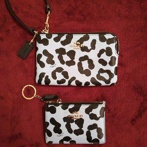 Coach Ocelot Leopard Print Wristlet & ID/Key Purse